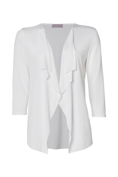 Cardigan in tricot met openvallende voorpanden - Ecru
