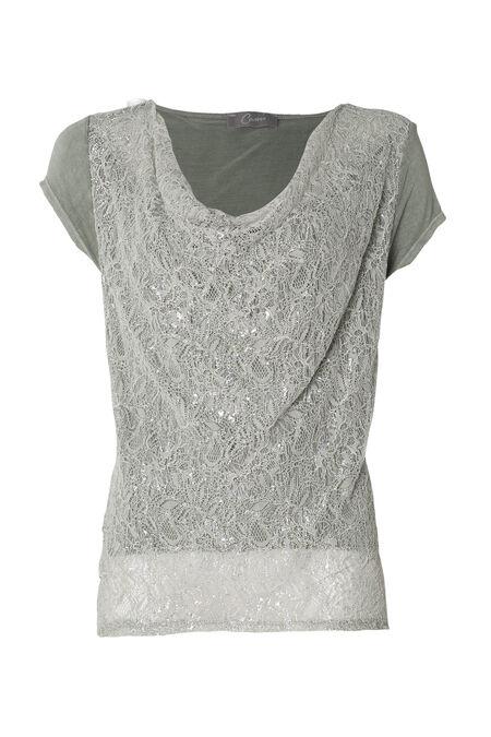 T-shirt lurex et dentelle - Amande