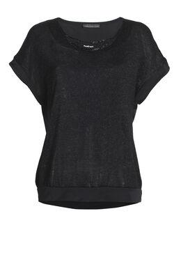 T-shirt col bijou avec basque bas, Noir
