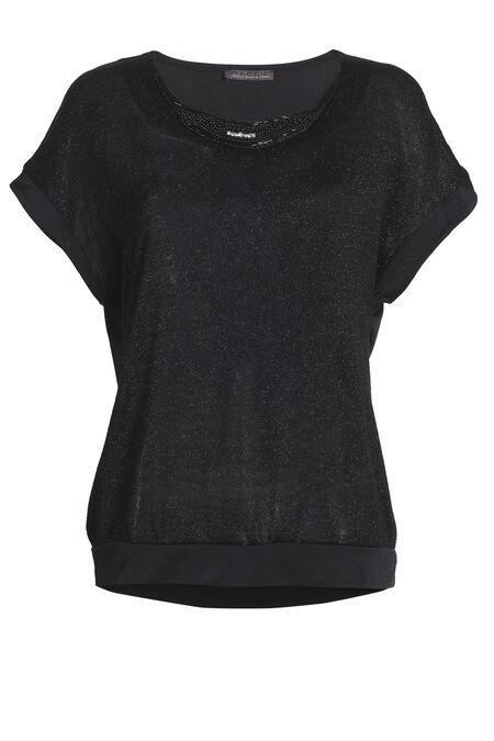 T-shirt met juweelkraag en pand onderaan - Zwart
