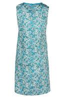 Jurk met bloemenprint met pompons en parels By Derhy, Turquoise