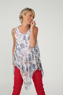 Top in voile met kasjmierprint, Ecru