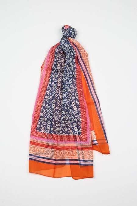Bedrukte zijden foulard - Oranje