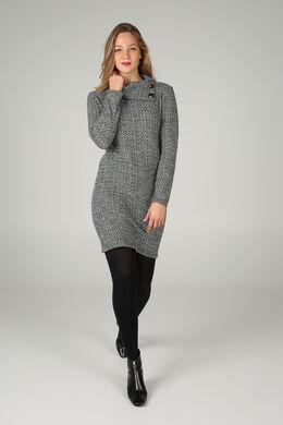 Jurk in bedrukt, warm tricot, Zwart/Ecru