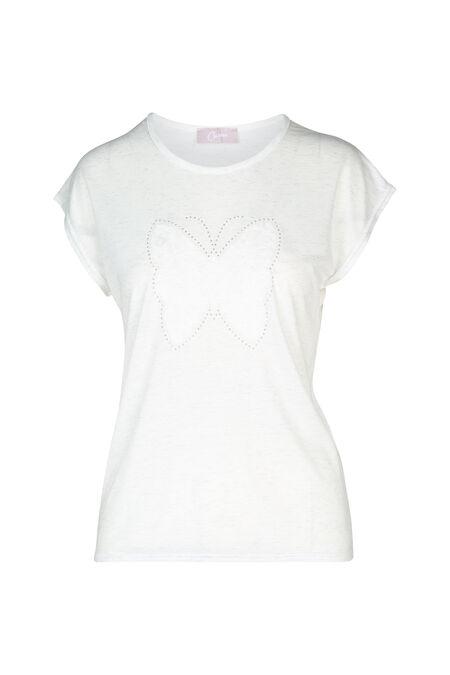 T-shirt papillon en dentelle - Ecru