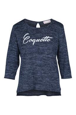 T-shirt in bedrukt tricot, Blauw