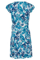 Robe imprimé lignes et feuilles, Turquoise