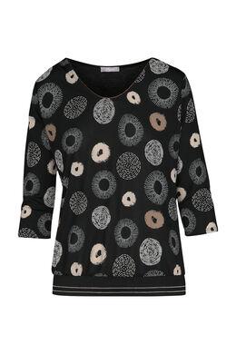T-shirt met cirkels, Zwart/Taupe