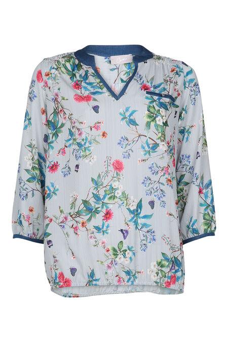 Gestreepte bloes met bloemenprint - Blauw