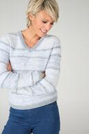 Gestreepte trui met lurex, Lichtblauw