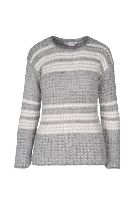 Pull maille relief rayé - Gris