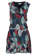 Bedrukte jurk in voile, Framboos