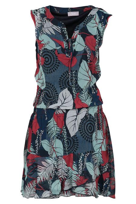 Bedrukte jurk in voile - Framboos