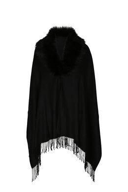 Poncho écharpe bord en fausse fourrure, Noir