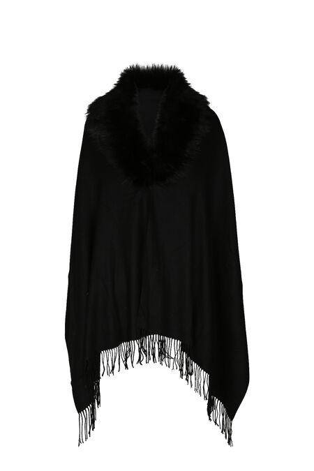 Poncho écharpe bord en fausse fourrure - Noir