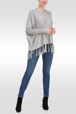 Ruime trui met franjes onderaan, Parelgrijs