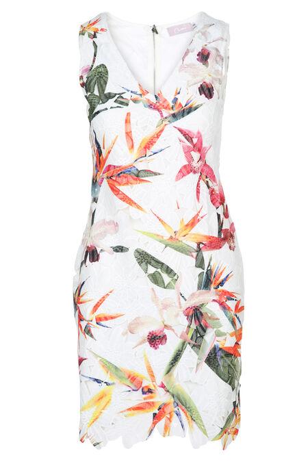 Kanten jurk met exotische bloemenprint - Multicolor
