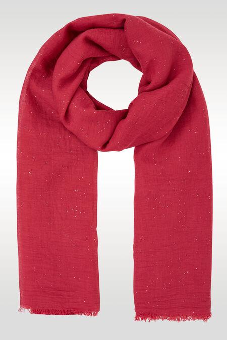 Effen foulard met lovertjes - Framboos