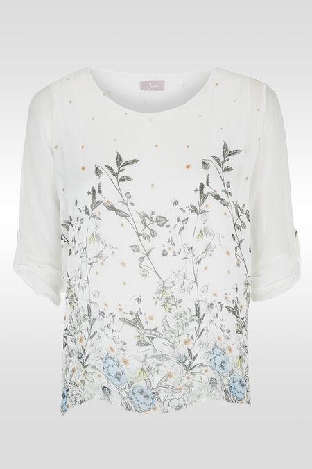 Tunique imprimé botanique - Blanc