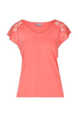 T-shirt avec empiècements en dentelle, Corail