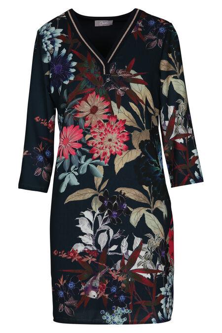 Bedrukte jurk - Marineblauw