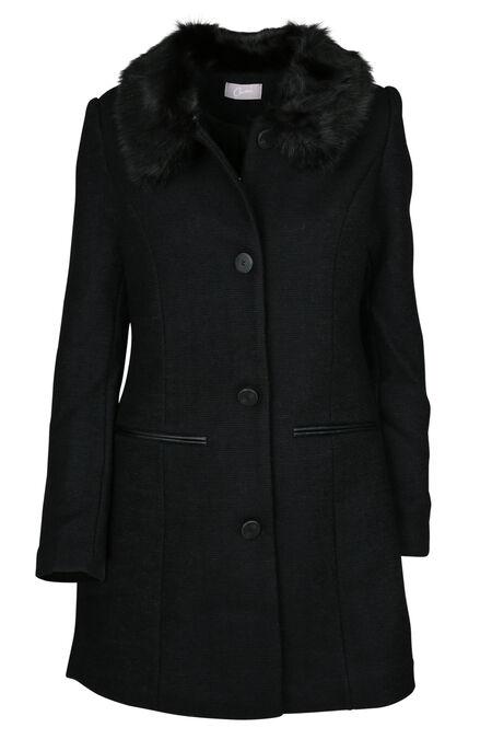 Mantel in een wollen stof - Zwart