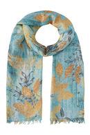 Foulard imprimé feuillage, Turquoise