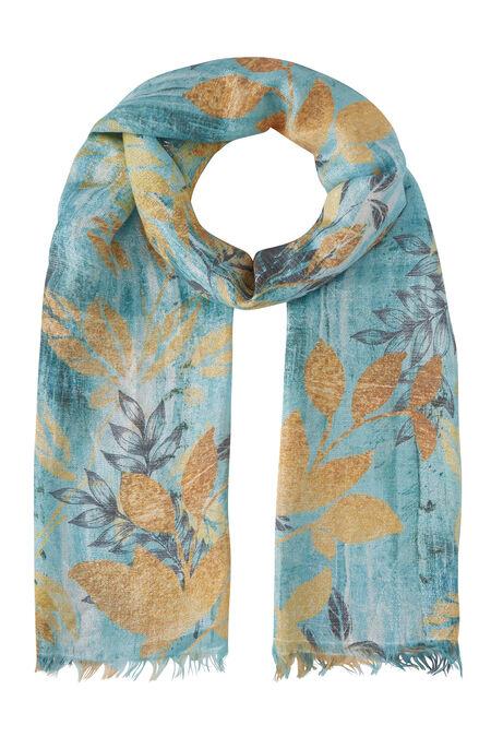 Foulard imprimé feuillage - Turquoise