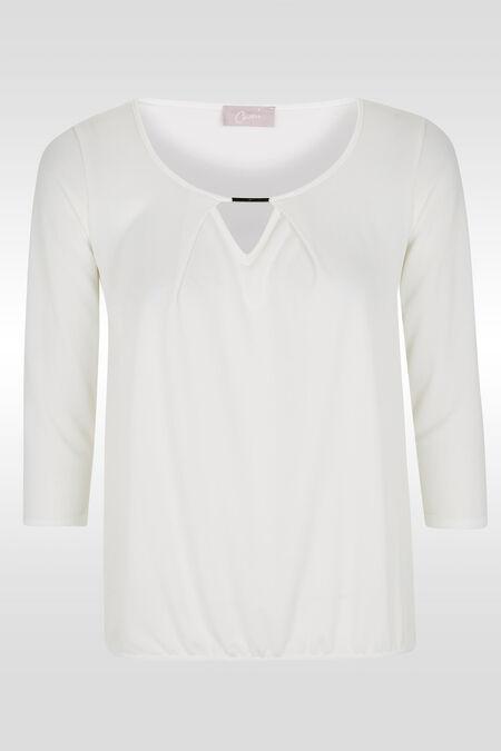 T-shirt 3/4-mouwen, druppelhals, juweel - Ecru