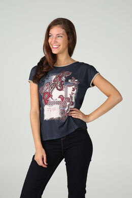 Bedrukt T-shirt, Marineblauw