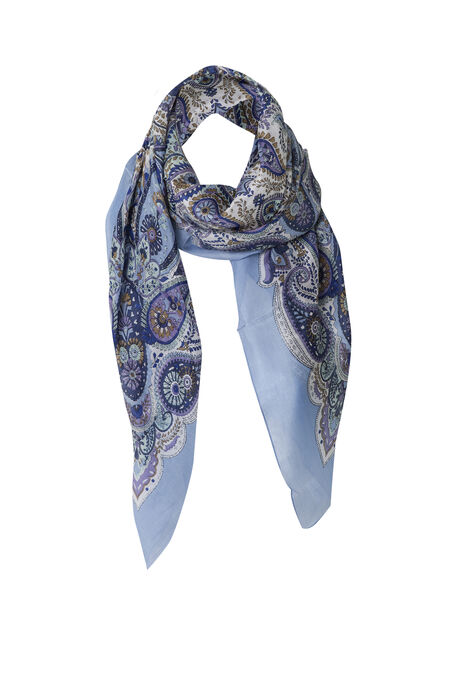 Zijden sjaaltje met paisleyprint - Blauw
