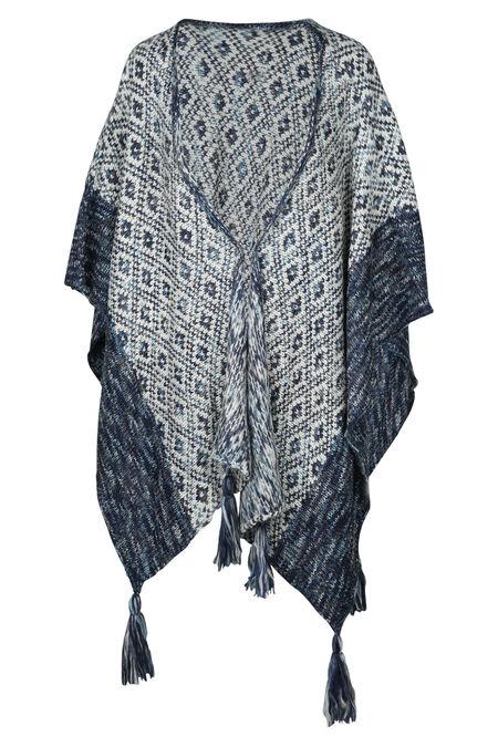Poncho in tricot - Marineblauw