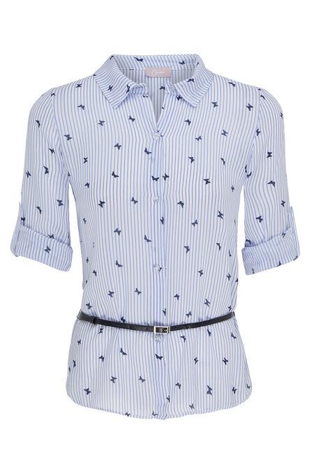 Chemise rayée à motifs papillons - Bleu