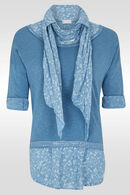 Pull 2en1 avec chemise fleurie et sequins, Bleu Delphes