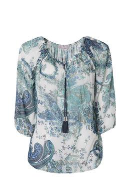 Tunique imprimé cashmere, Turquoise