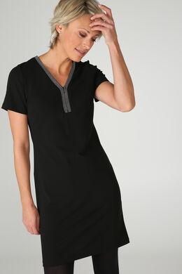 Effen jurk met fantasiehals, Zwart