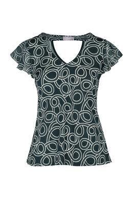 T-shirt met print en volantmouwen, Groen