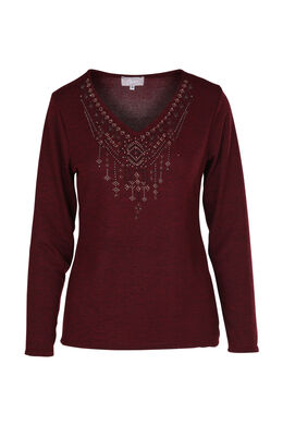 T-shirt clous et strass, Bordeaux