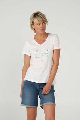 T-shirt met print van 3 pluimen, Ecru