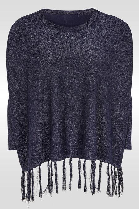 Ruime trui met franjes onderaan - Marineblauw