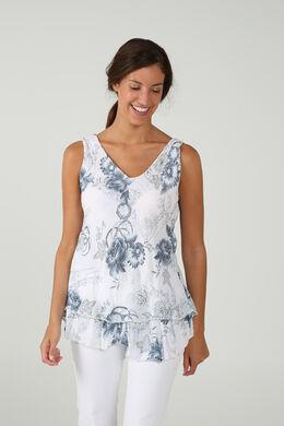 Mouwloze top met bloemen, Wit