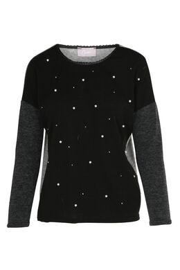 Driekleurige trui met kralen, Zwart