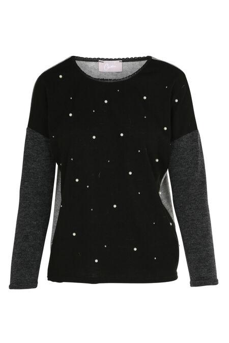 Driekleurige trui met kralen - Zwart
