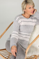 Pull maille relief rayé, Gris