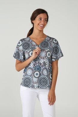 T-shirt imprimé style mandala, Bleu