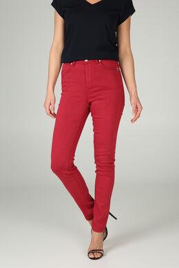 Pantalon slim en coton, Framboise