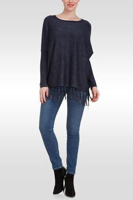 Ruime trui met franjes onderaan, Marineblauw