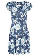 Luchtig kleedje met watervalkraag en strik op de rug, Turquoise