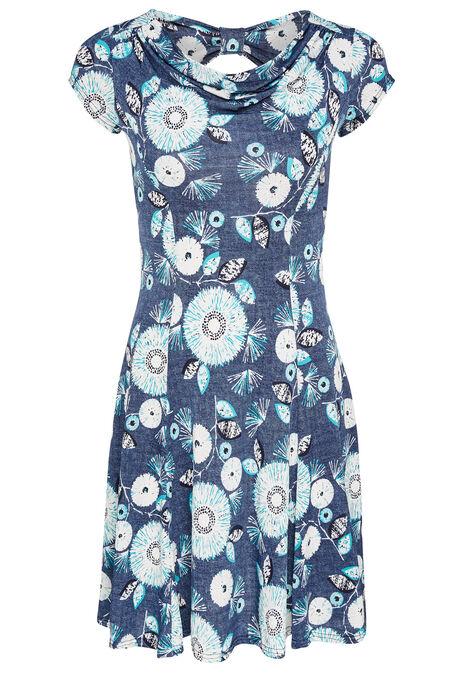 Luchtig kleedje met watervalkraag en strik op de rug - Turquoise