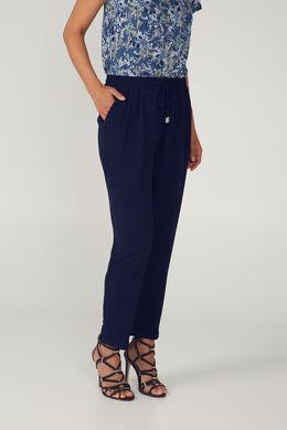 Soepel vallende, geklede broek, Marineblauw